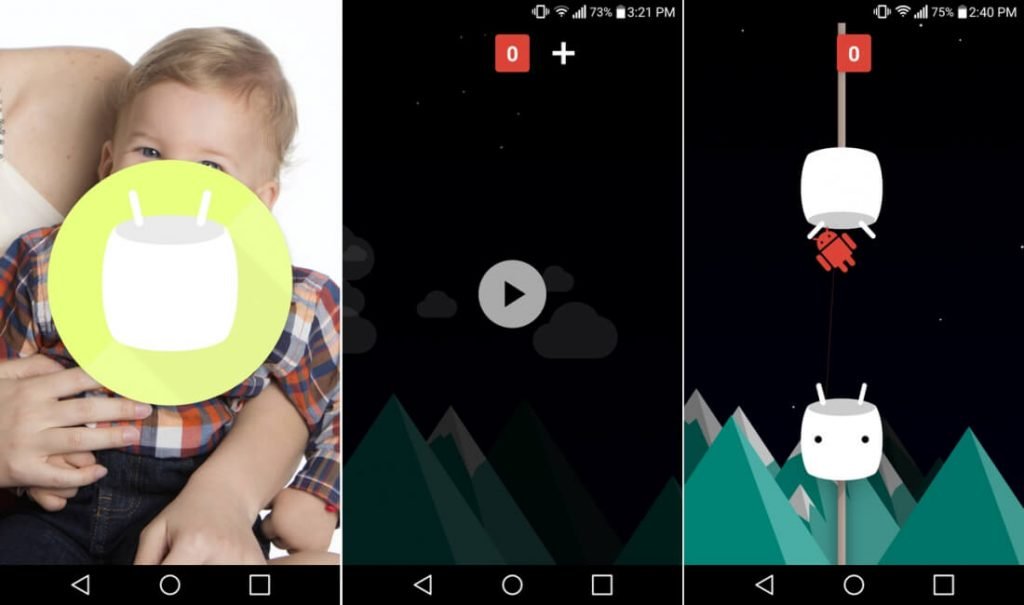 Одна из пасхалок в Android - игра в стиле Flappy Bird