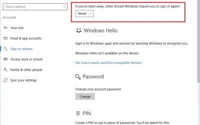 Как отключить ввод пароля Windows 10 при пробуждении от сна