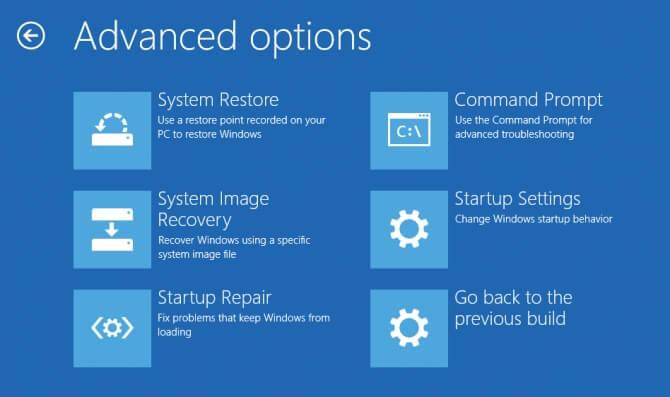 Как перейти в меню дополнительных параметров запуска Windows 10