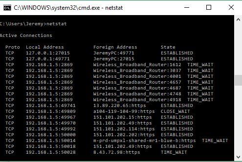 Просмотрите список сетевых подключений и портов