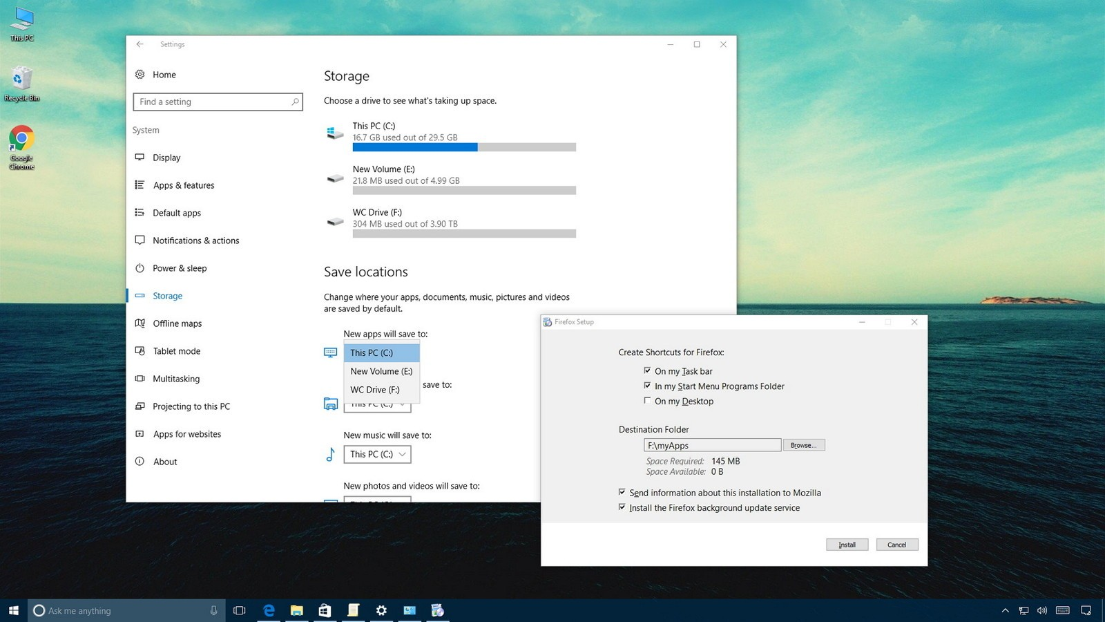Как установить приложения Windows 10 на внешний или второй диск