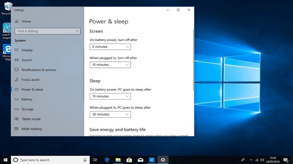 Настройка параметров питания и спящего режима Windows