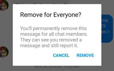 Как работает отмена отправки сообщения в Facebook Messenger