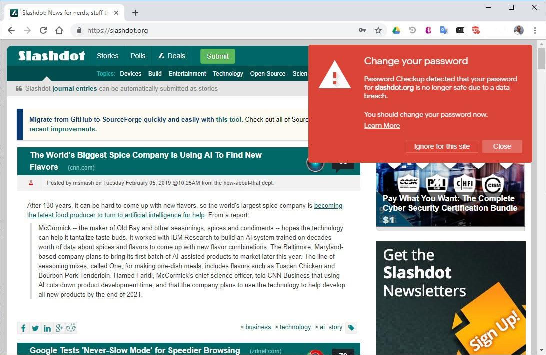 Новое расширение для Chrome от Google ругается на опасные пароли