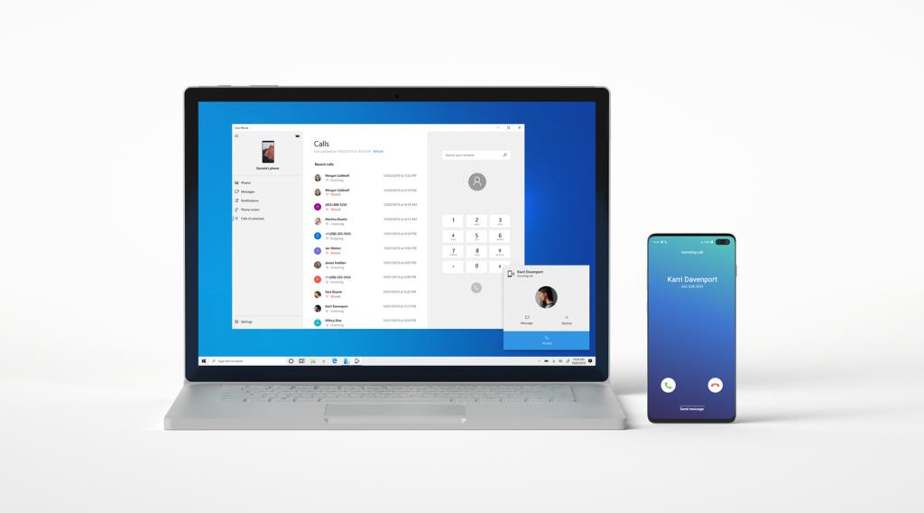 Приложение Your Phone от Microsoft теперь поддерживает синхронизацию звонков на Android c Windows
